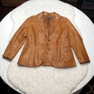 VINCE Saddle Tan Leather 2-Button Jacket SZ 4